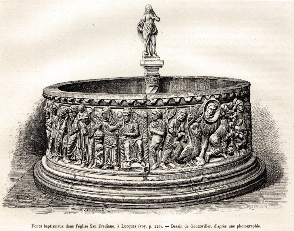 The baptismal font before the finding of the upper part
